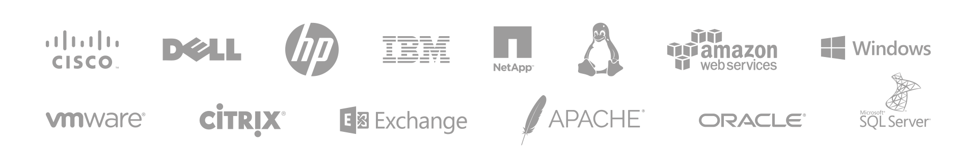 PRTG Cisco, Dell, HP, IBM, Netapp, Linux, Amazon, Windows, Exchange, SQL Server, Vmware, Apache